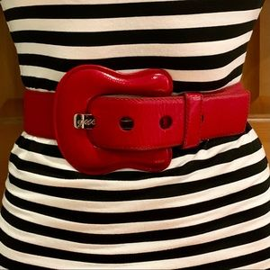 Guess red patent leather belt small
